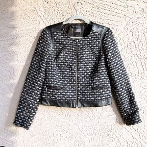 THE LIMITED Tweed Faux Leather Bouclé Moto Jacket